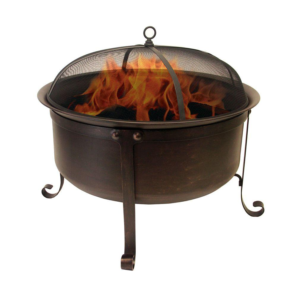 Hampton Bay Welton 34 in. Round Cauldron Fire Pit-AD544 - The