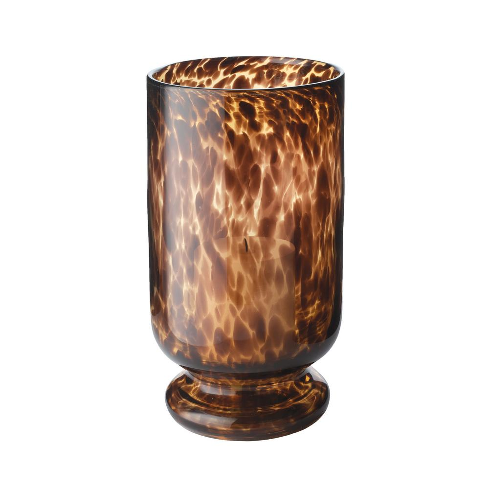 13 in.Tortoise Pattern Hurricane Candle Holder, Browns/Tans