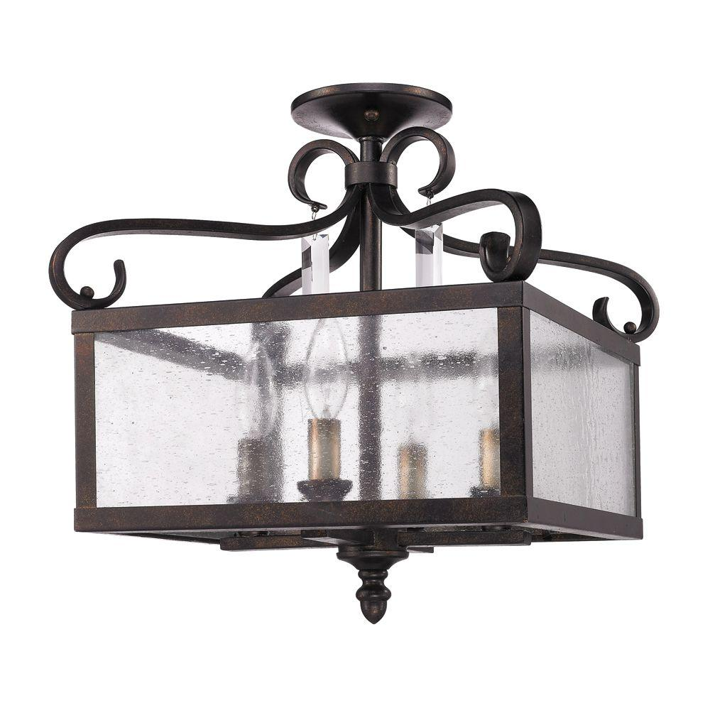 Lore Collection 4-Light Fired Bronze Semi-Flush Mount/Pendant