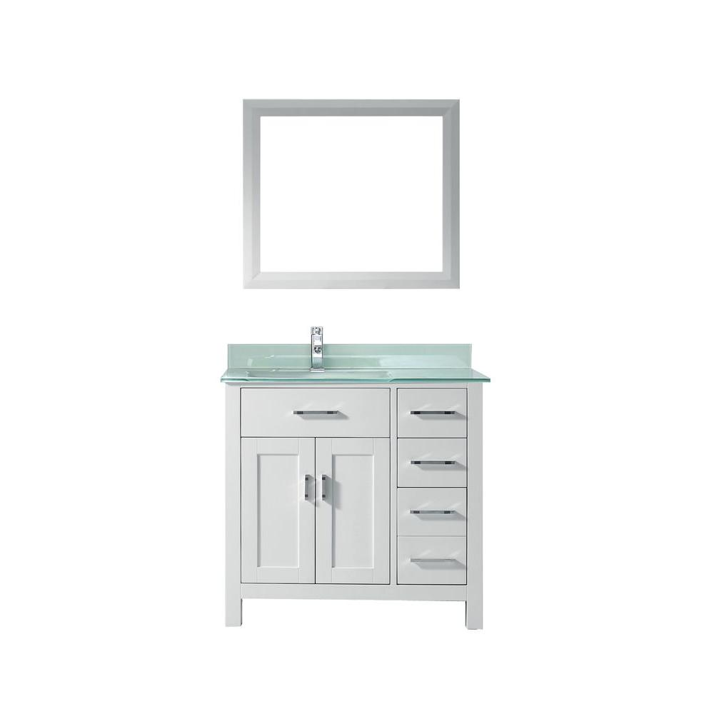 Kalize 36 in. Vanity in White with Glass Vanity Top in