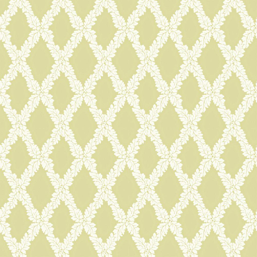 The Wallpaper Company 8 in. x 10 in. Green Acorn Trellis Wallpaper Sample