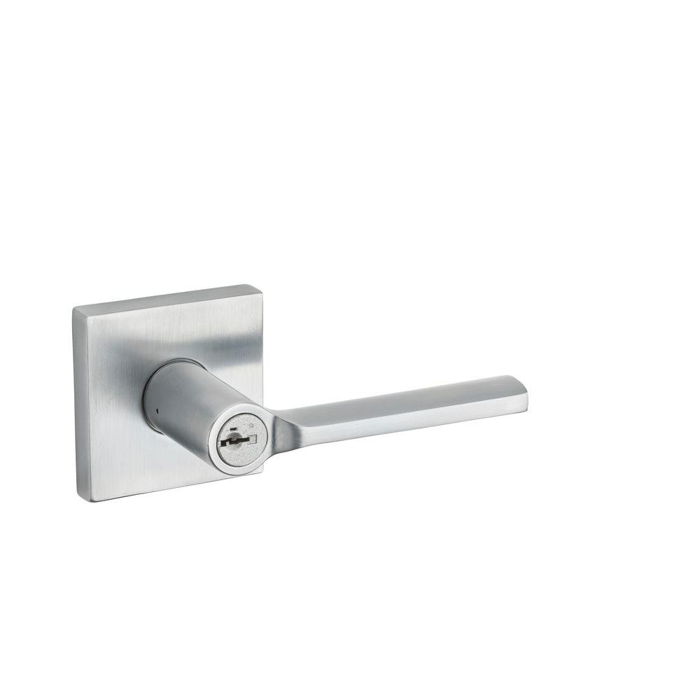 Lisbon Satin Chrome Square Keyed Entry Lever featuring SmartKey