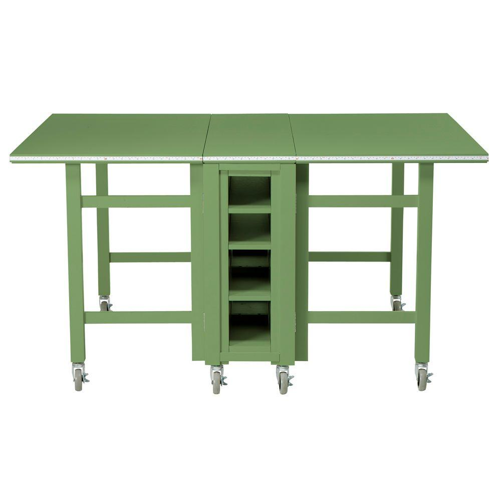 Martha Stewart Living Craft Space 6 ft. Collapsible Wood Craft Table in Rhododendron Leaf