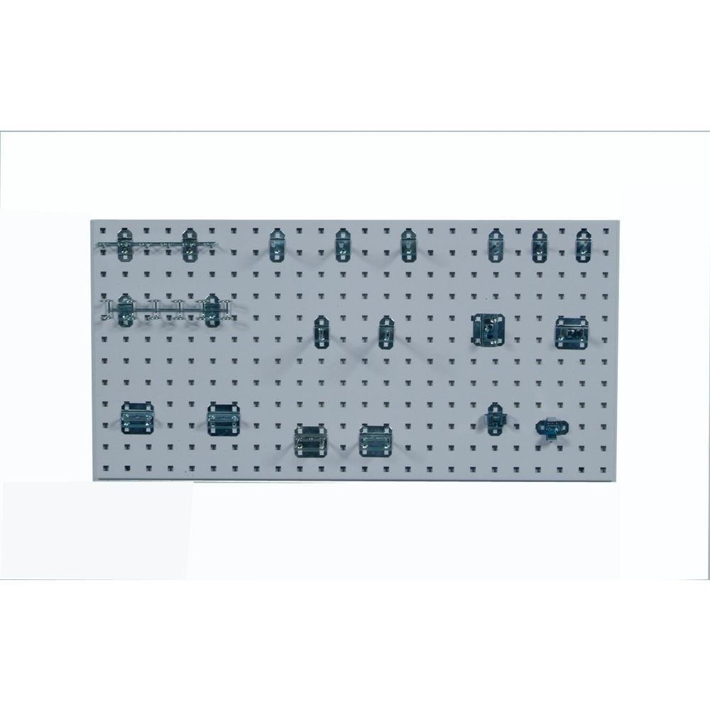 3/8 in. White Steel Square Hole Pegboards with LocHook Assortment (18-Pieces