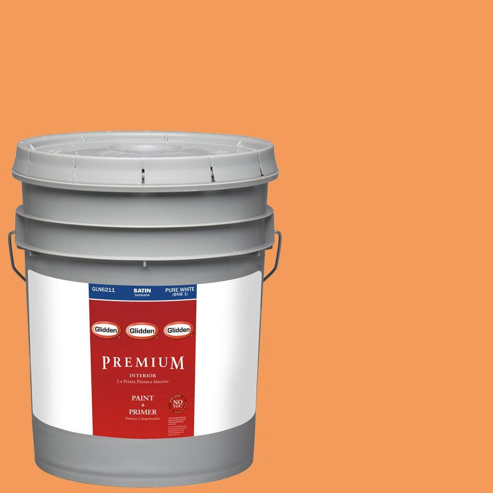 Interior Paint, Exterior Paint & Paint Samples: Glidden Premium Paint 5-gal. #HDGO28 Orange Slice Satin Latex Interior Paint with Primer HDGO28P-05SA