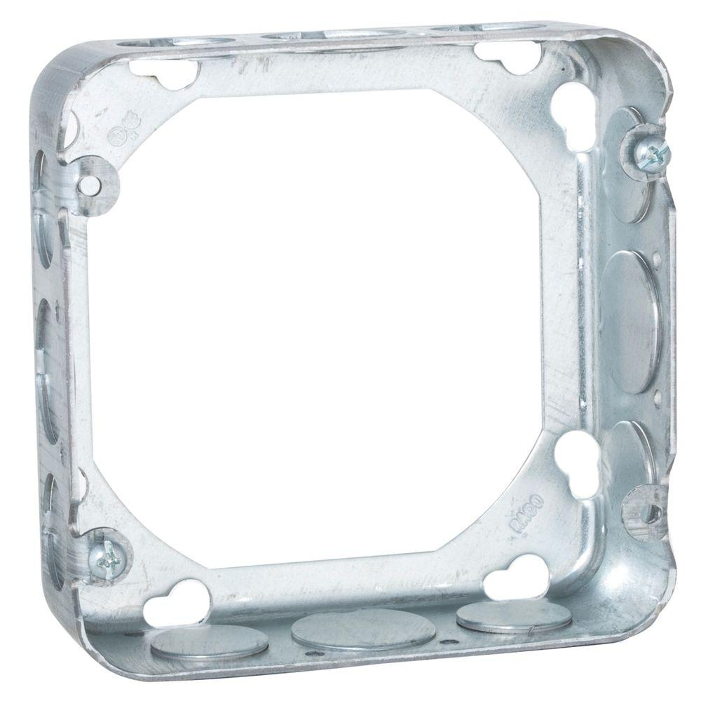 null 4-11/16 in. Square Drawn Extension Ring, 1-1/2 in. Deep with 1/2 in. and 3/4 in. KO's (25-Pack)