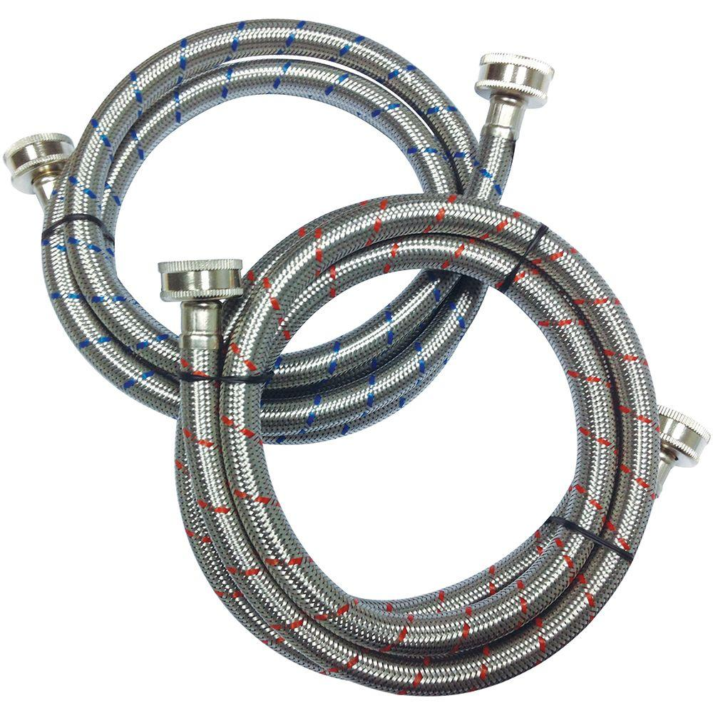 Everbilt 3/4 in. x 3/4 in. x 5 ft. Stainless Steel Washing Machine Hose (2-Pack)