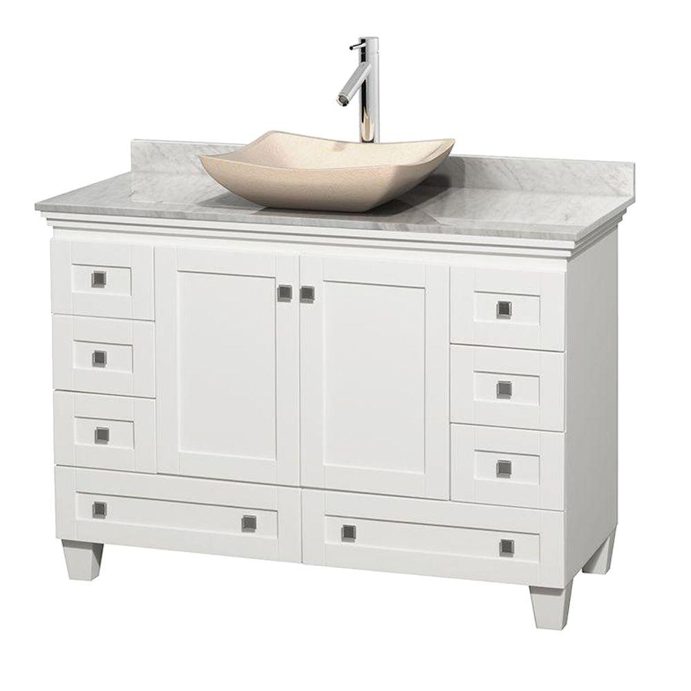 Acclaim 48 in. W Vanity in White with Marble Vanity Top
