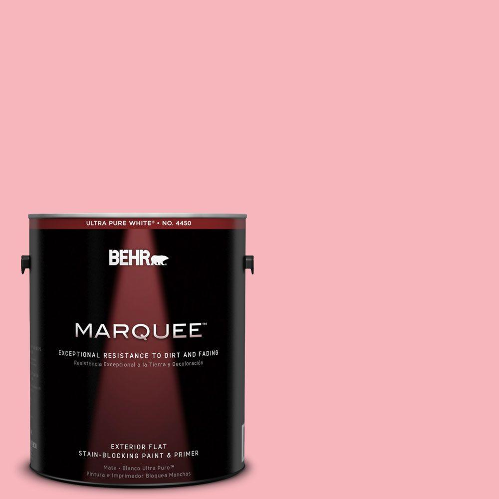 BEHR MARQUEE 1-gal. #130A-3 Ballerina Pink Flat Exterior Paint-445401 - The