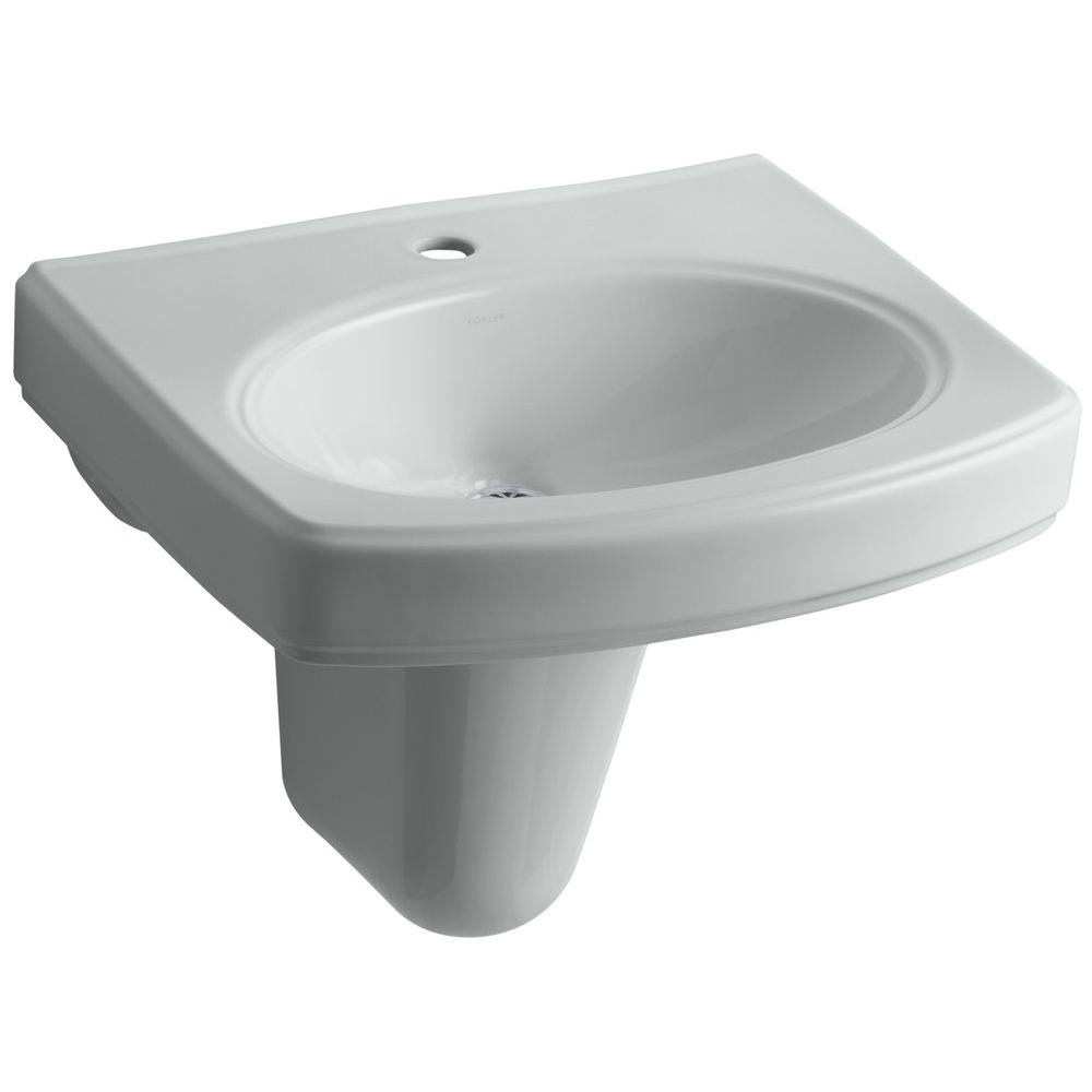 KOHLER Pinoir Wall-Mount Vitreous China Bathroom Sink in Ice Grey with