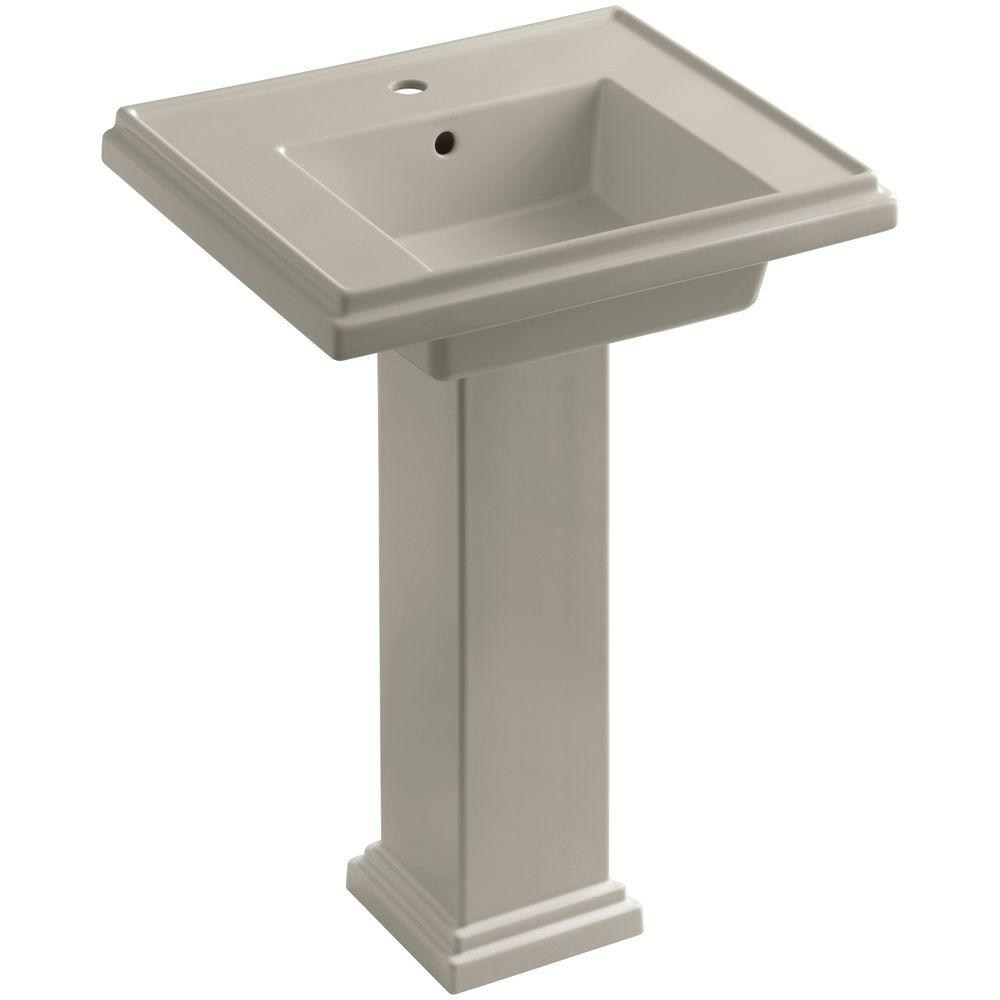 KOHLER Tresham Ceramic Pedestal Combo Bathroom Sink with Single-Hole Faucet Drilling in Sandbar with Overflow Drain
