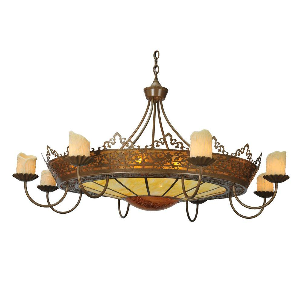 Illumine 10 Light Stanley 8 Arm Chandelier Antique Gold Finish Mica Acrylic