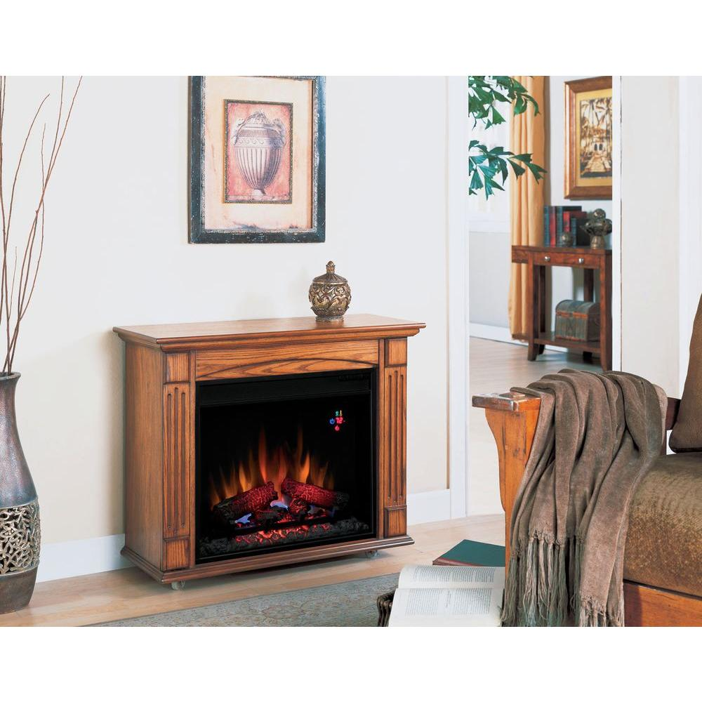Chimney Free 31 in. Compact Rolling Electric Fireplace in Premium Oak