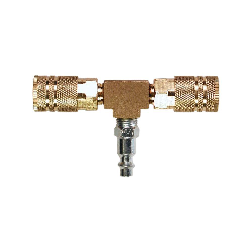 2-Way T-Style Air Manifold with 1/4 in. 6-Ball Brass Couplers
