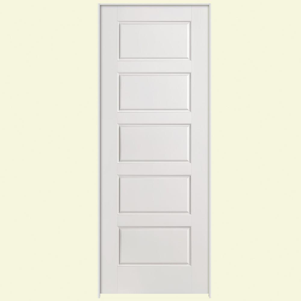 Masonite 30 in x 80 in solidoor riverside smooth 5 panel equal solid core primed composite for Solid wood interior doors home depot