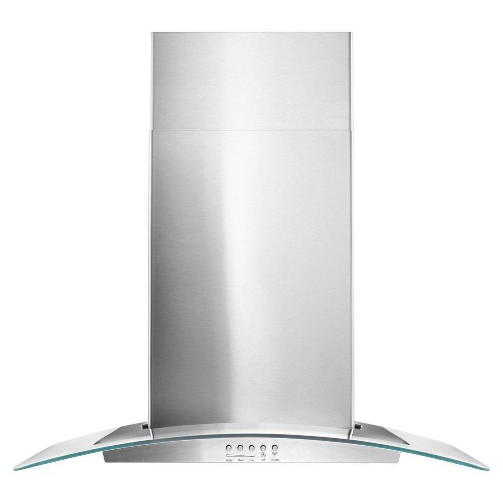 30 in. Concave Glass Wall Mount Range Hood in Stainless Steel