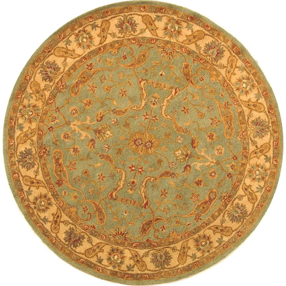 Antiquity Teal/Beige (Blue/Beige) 6 ft. x 6 ft. Round Area Rug