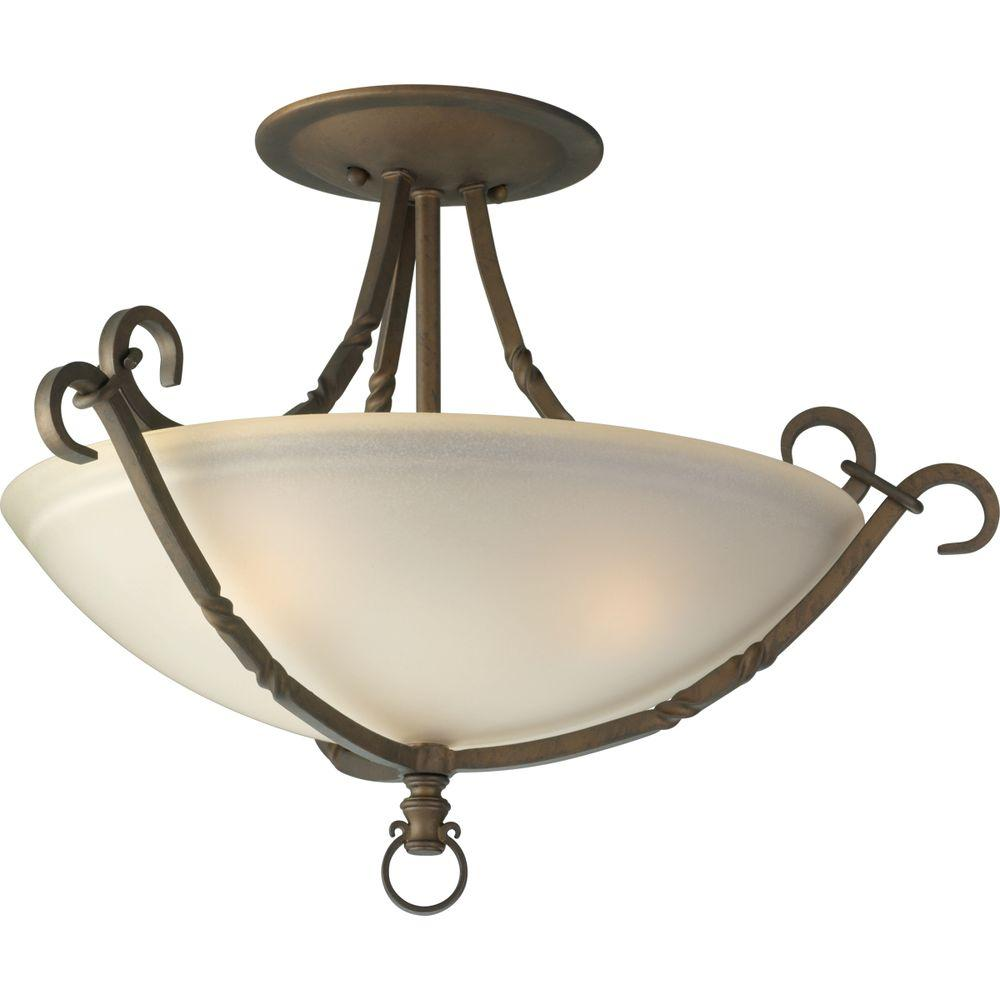 Progress Lighting Santiago Collection 3-Light Roasted Java Semi-Flush