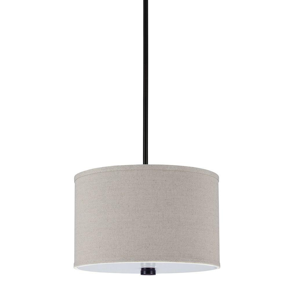 Sea Gull Lighting Dayna 2 Light Burnt Sienna Shade Pendant With Linen Shade 6