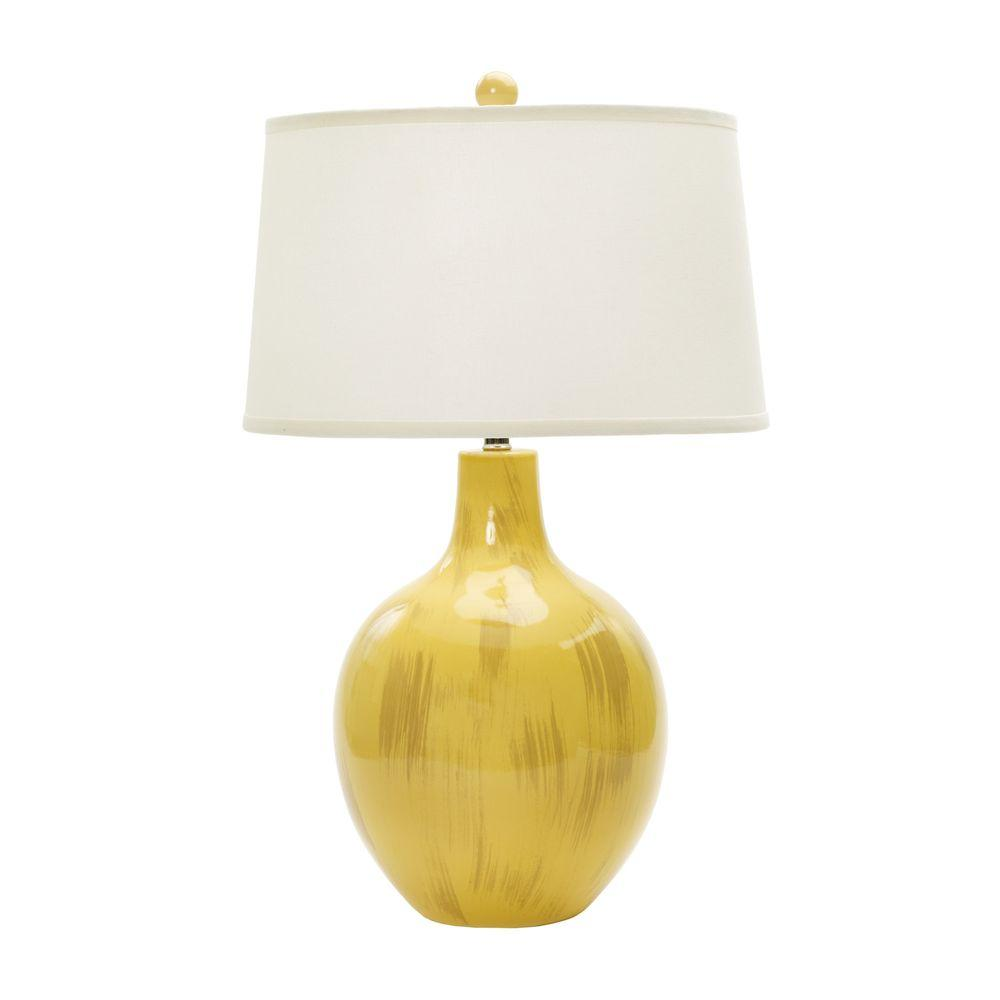 28 in. Rustic Goldfinch Crackle Ceramic Table Lamp
