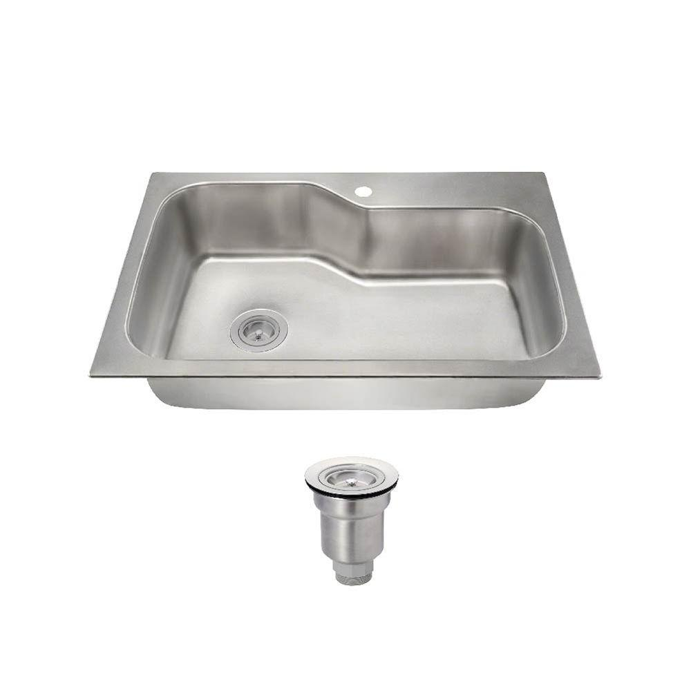 All-in-One Dualmount Stainless Steel (Silver) 33 in. 1-Hole Single Bowl Kitchen Sink