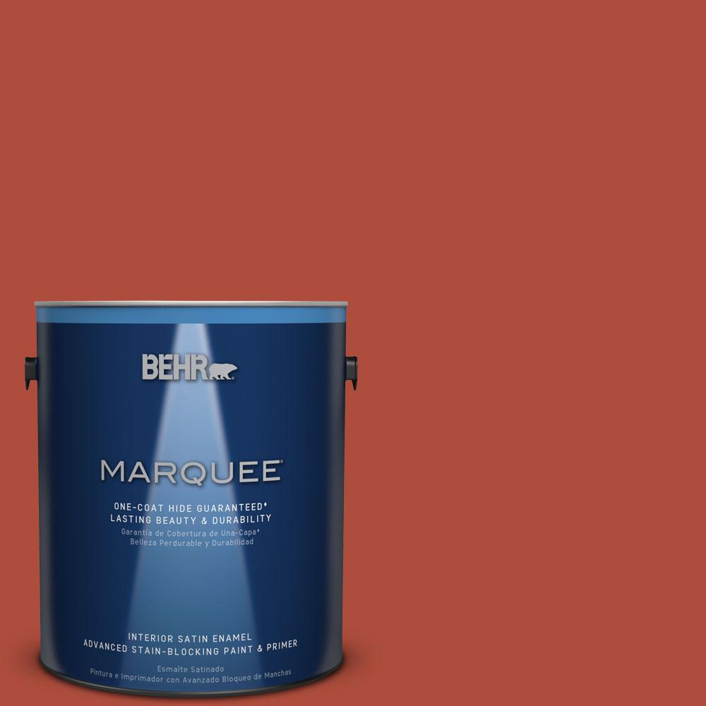 1 gal. #MQ4-35 Torch Red One-Coat Hide Satin Enamel Interior Paint