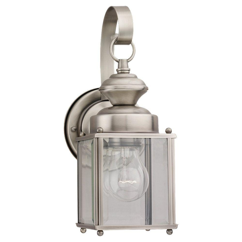 Jamestowne Collection 1-Light Outdoor Antique Brushed Nickel Lantern