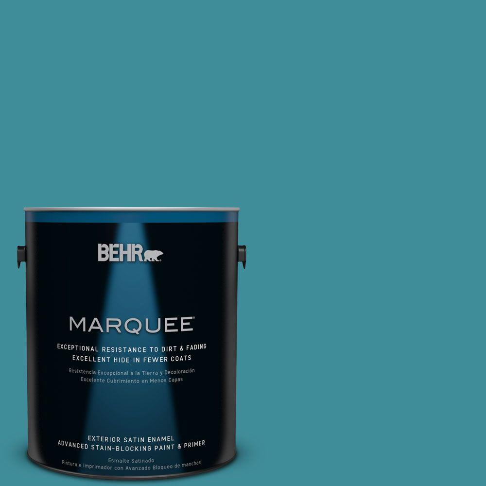 BEHR MARQUEE 1-gal. #MQ6-34 Prophetic Sea Satin Enamel Exterior Paint-945301 -