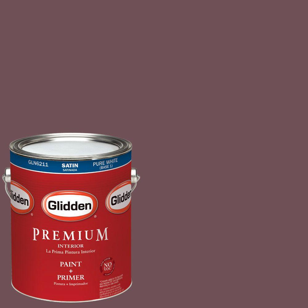 1-gal. #HDGR39U Christopher's Burgundy Satin Latex Interior Paint with Primer
