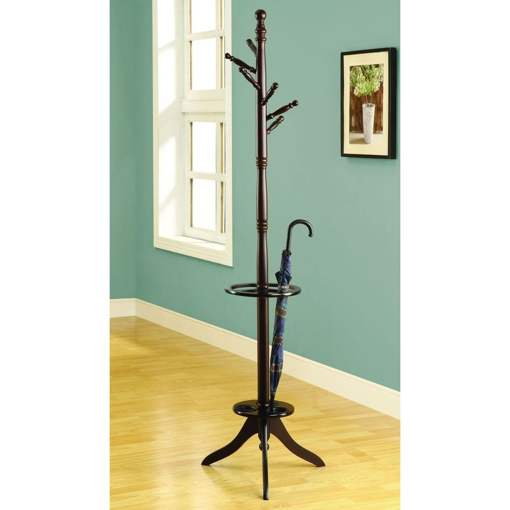 Monarch Specialties 6-Hook Solid Wood Coat Rack in Cappuccino with an