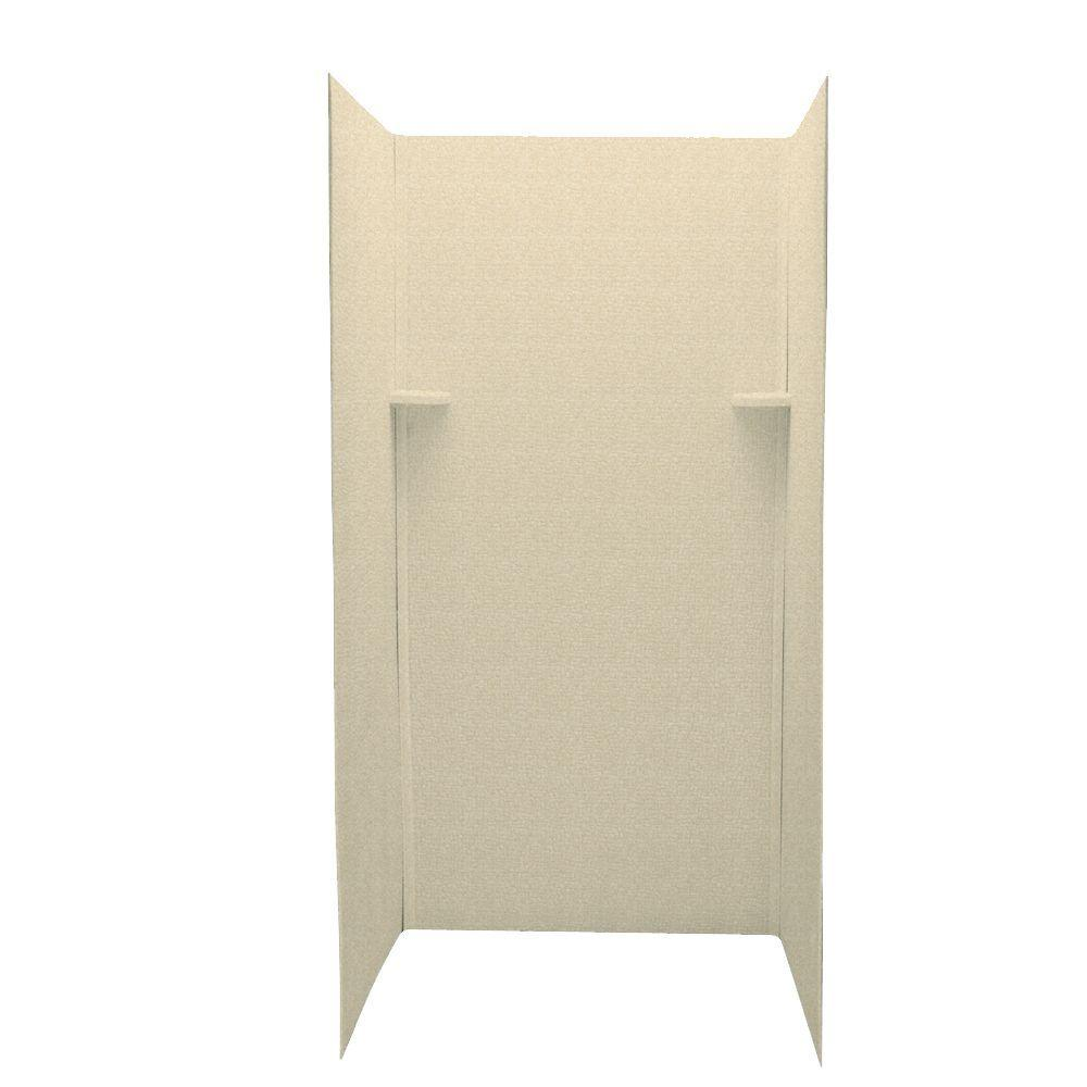 Swan Pebble 36 in. x 36 in. x 72 in. Three Piece Easy Up Adhesive Shower Wall Kit in Cornflower-DISCONTINUED