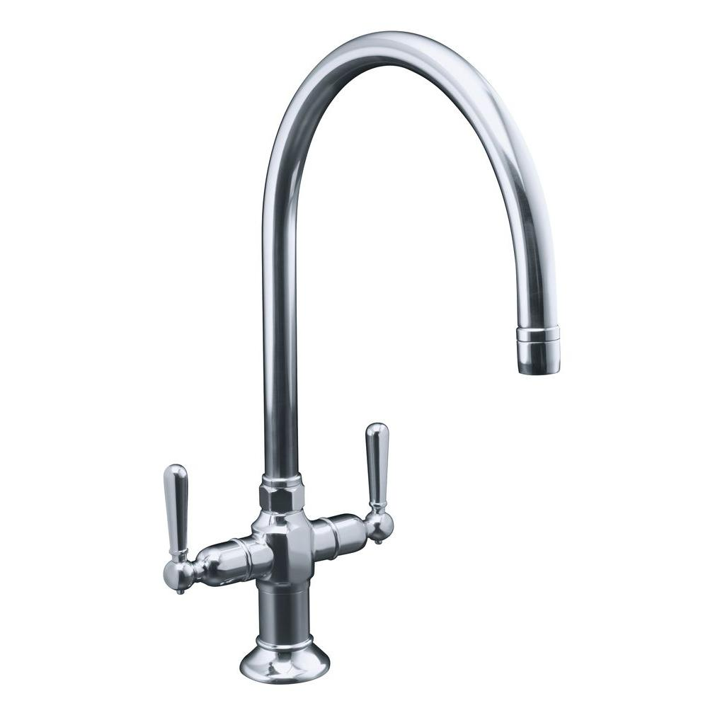 KOHLER HiRise 2-Handle Standard Kitchen Faucet in Polished Stainless-Steel