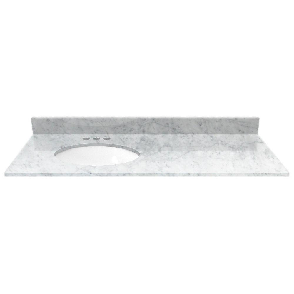 49 in. Marble Vanity Top in White Carrara with White Basin