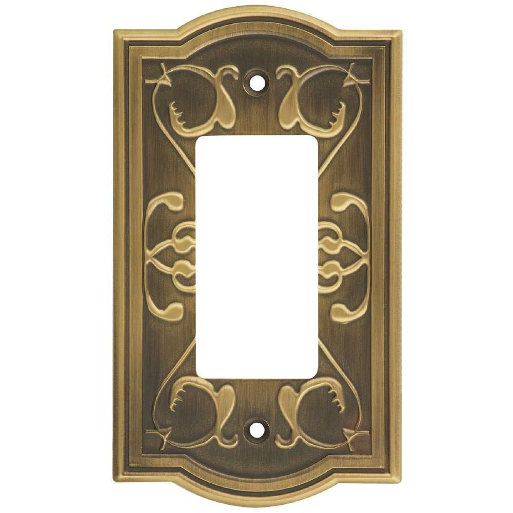 Stanley-National Hardware Victoria 1 Gang GFCI Wall Plate - Antique brass-DISCONTINUED