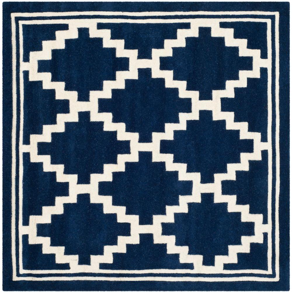 Safavieh Chatham Navy/Ivory 5 ft. x 5 ft. Square Area Rug-CHT743C-5SQ