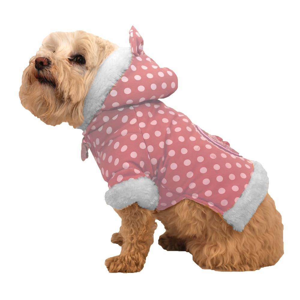 PET LIFE X-Small Pink Polka-Dot Couture-Bow Dog Hoodie Sweater with Faux Fur Fashion Hood