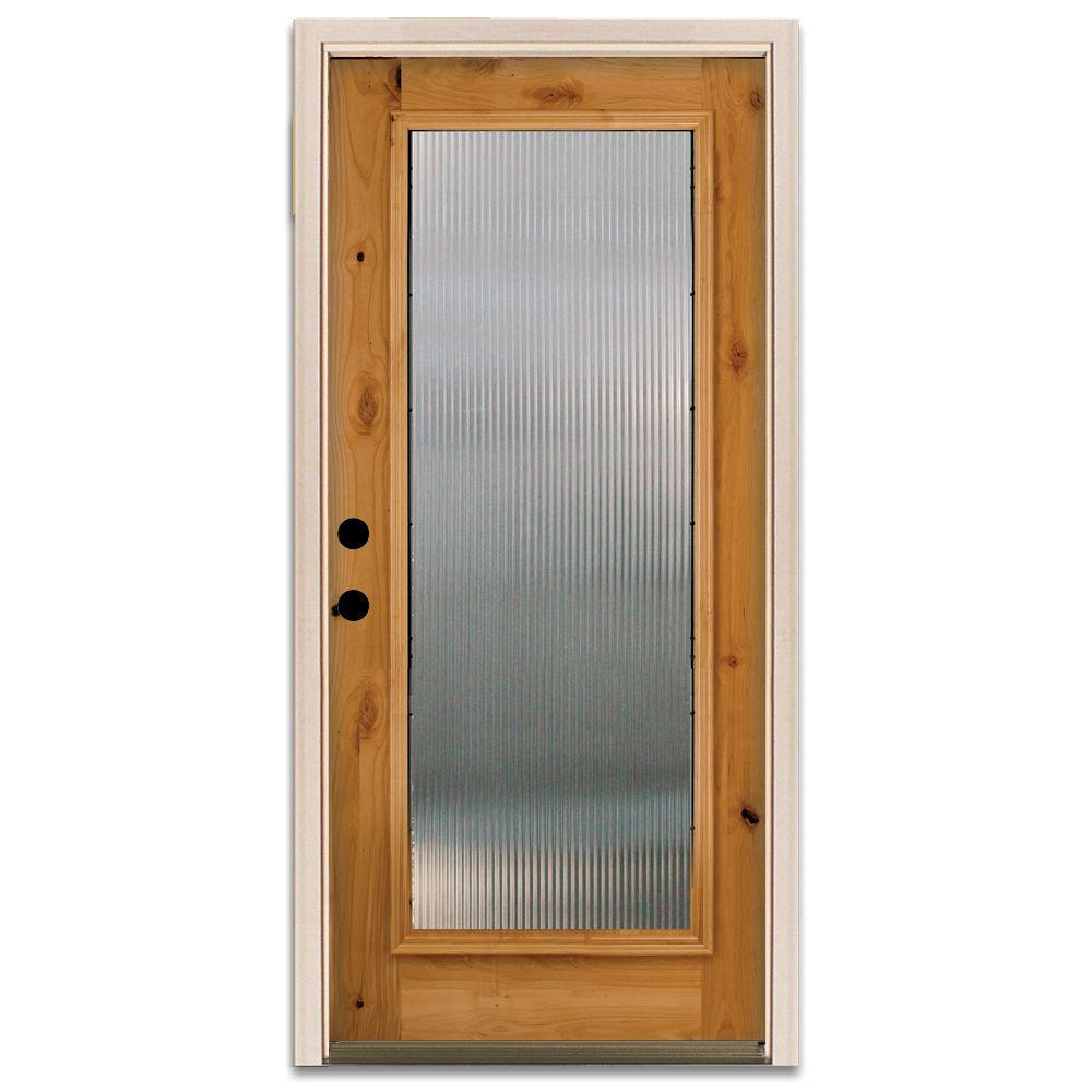Steves & Sons Reed Full Lite Prefinished Knotty Alder Wood Prehung Front Door-DISCONTINUED