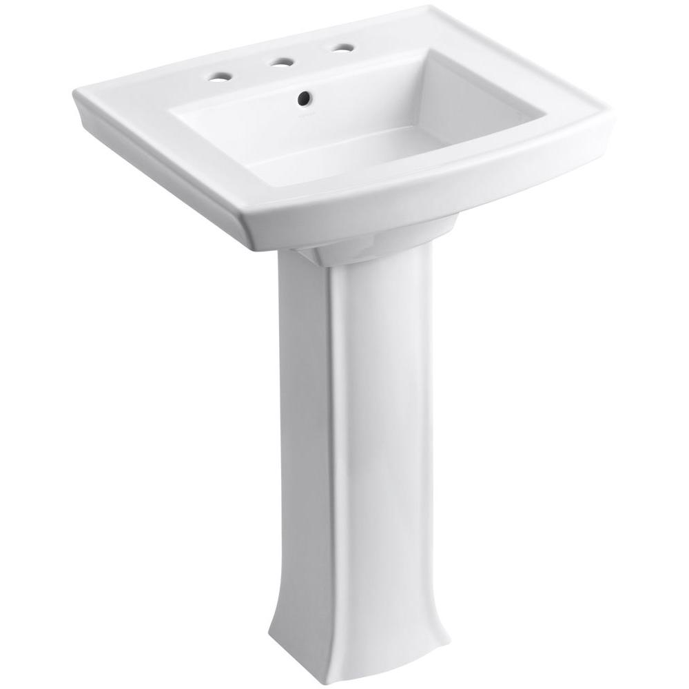 KOHLER Archer Vitreous China Pedestal Combo Bathroom Sink in White with  Overflow Drain K 2359 4 0   The Home Depot. KOHLER Archer Vitreous China Pedestal Combo Bathroom Sink in White