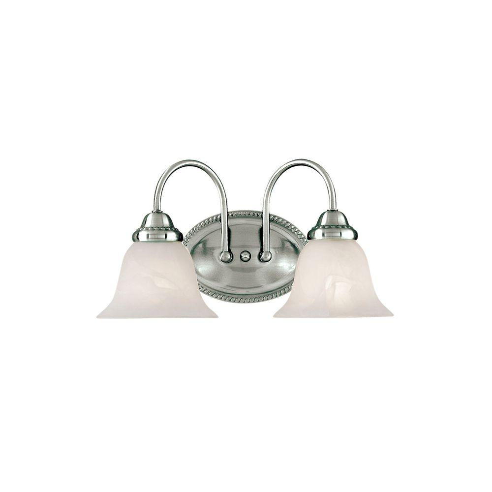 Millennium Lighting 2-Light Satin Nickel Vanity Light with Faux Alabaster Glass