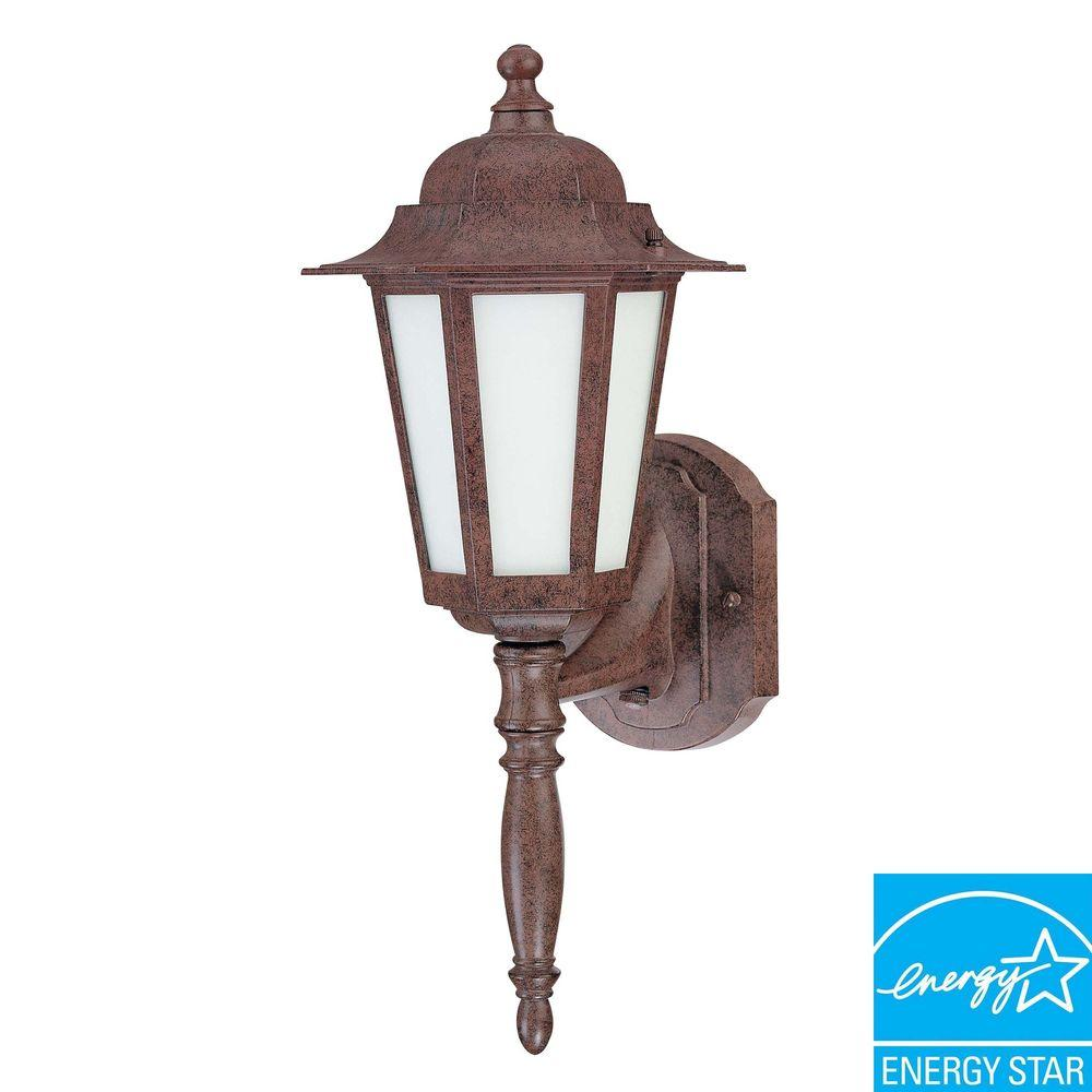 Green Matters 18 in. Wall-Mount Outdoor Old Bronze Lantern