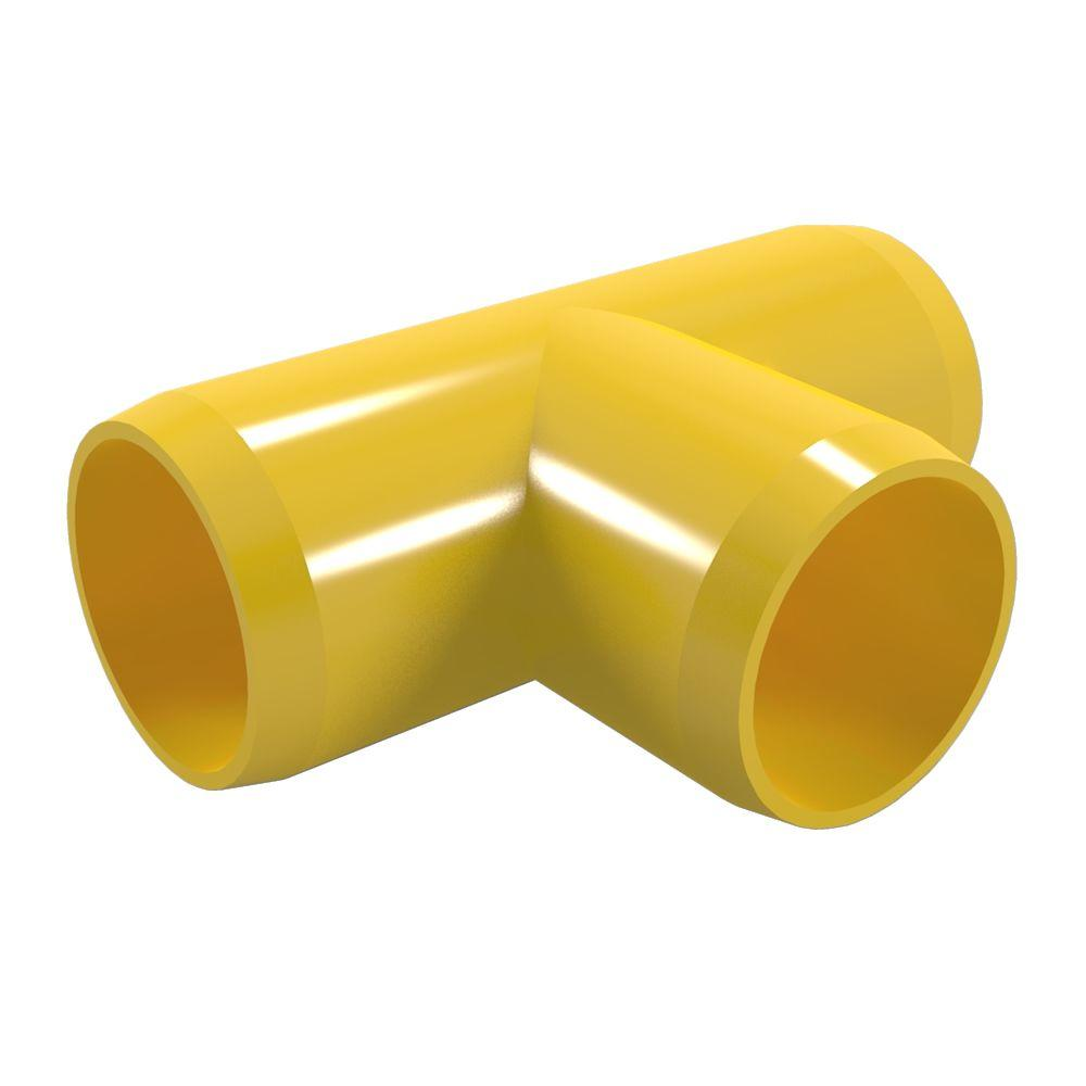 1 in. Furniture Grade PVC Tee in Yellow (4-Pack)