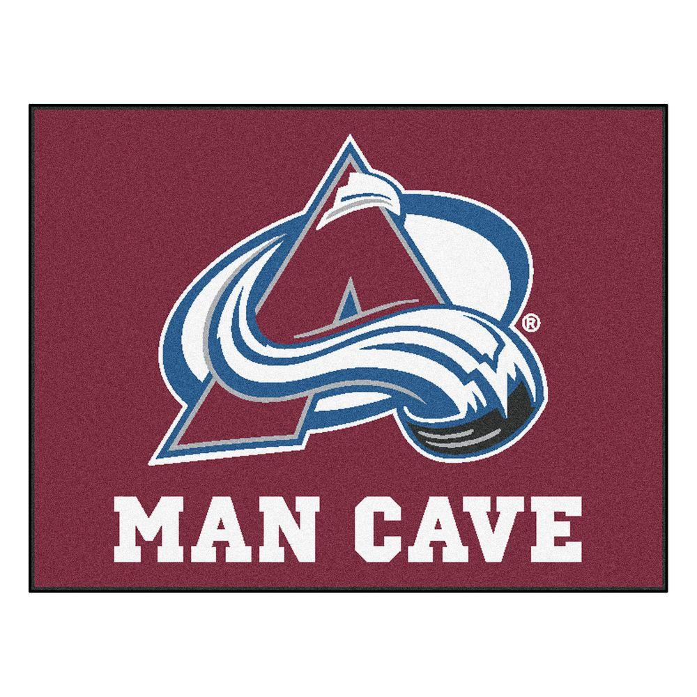 Modern Indoor/Outdoor Accent Rug: FANMATS Rugs Colorado Avalanche Red Man Cave 2 ft. 10 in. x 3 ft. 9 in. 14413