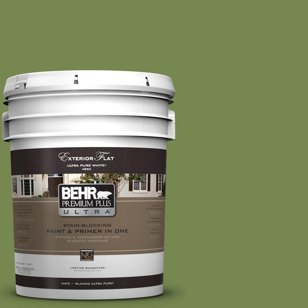 5-gal. #HDC-SM14-2 Green Suede Flat Exterior Paint