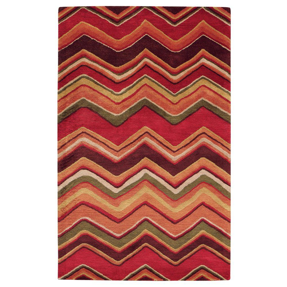 Home Decorators Collection Cheveron Red 8 ft. x 11 ft. Area Rug