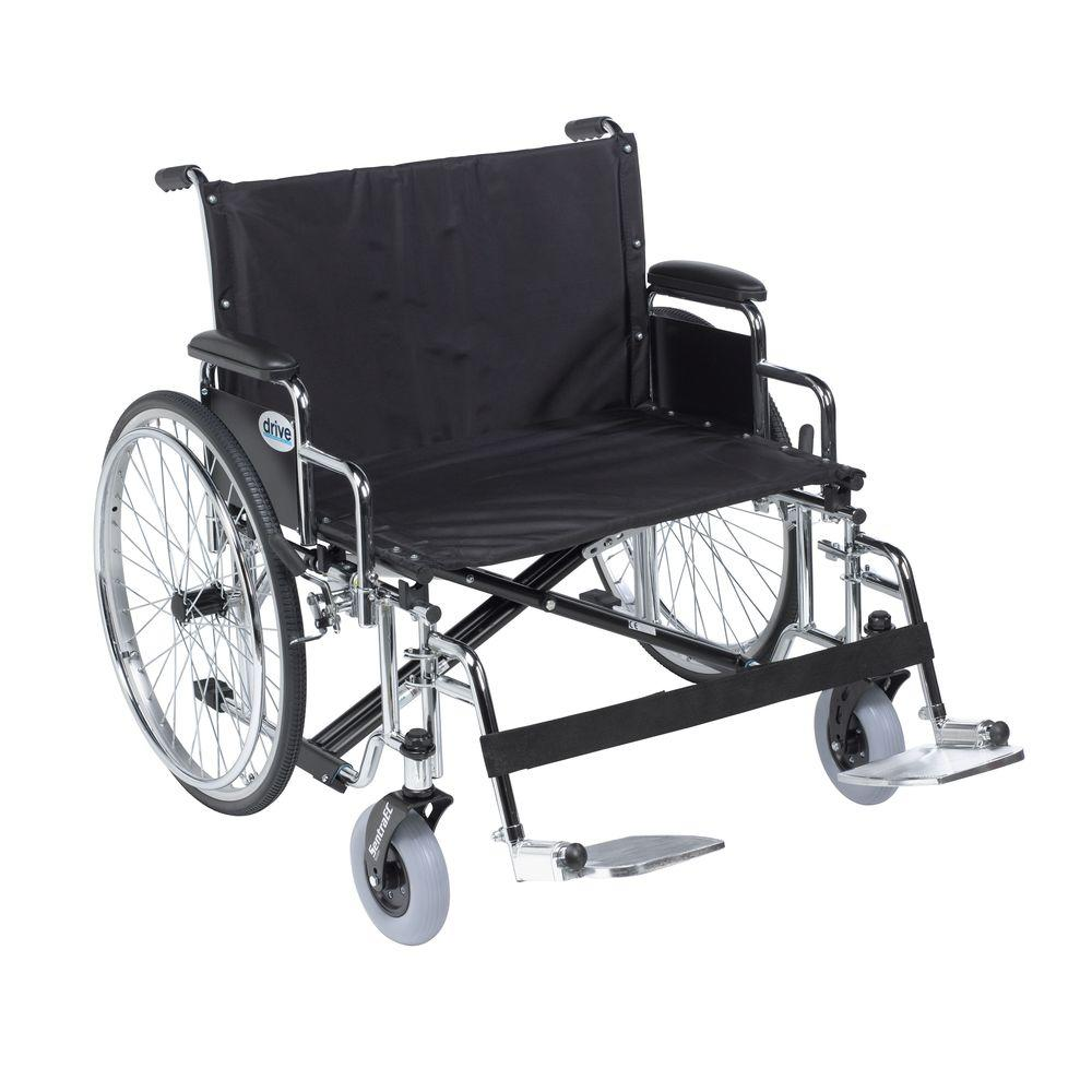 Drive Sentra EC Heavy Duty Extra Wide Wheelchair, Detachable Desk Arms, Swing Away Footrests and 30 in. Seat