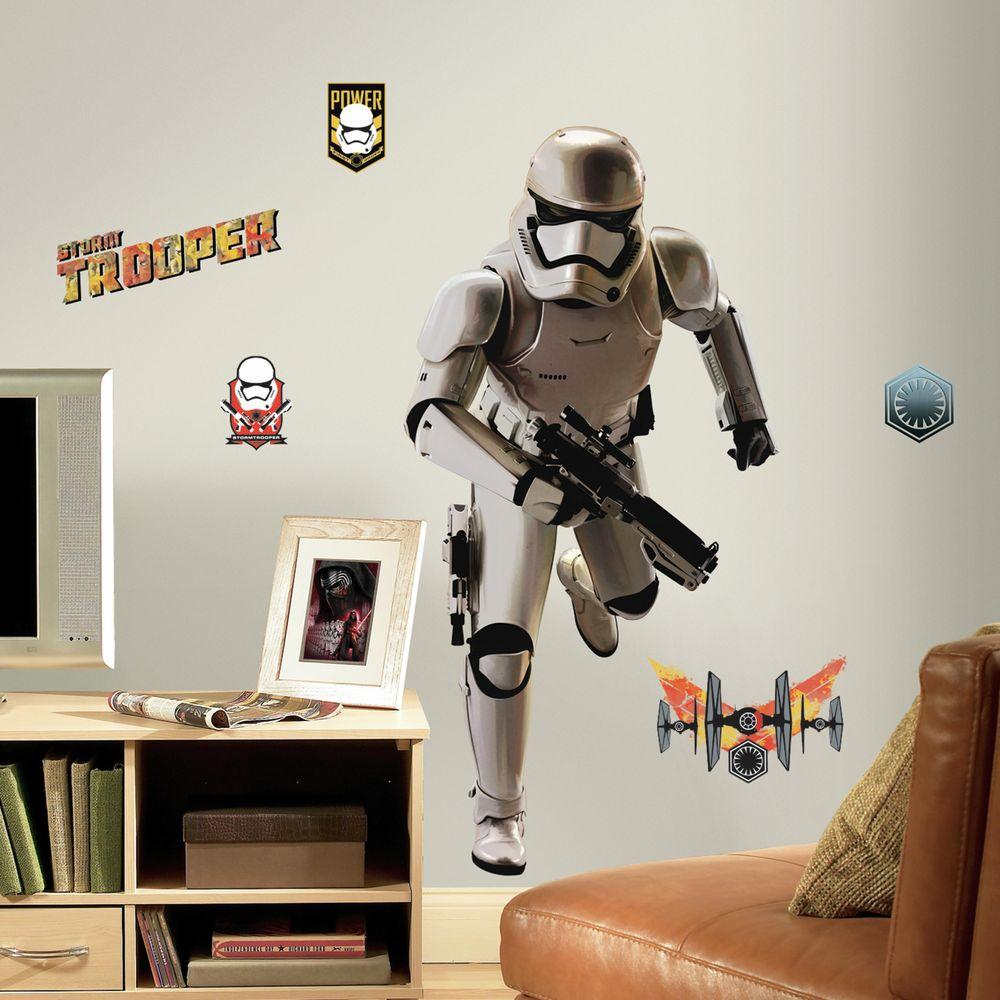 5 in. W x 19 in. H Star Wars EP VII Storm Trooper 10-Piece Peel and Stick Giant Wall Decal, Multi