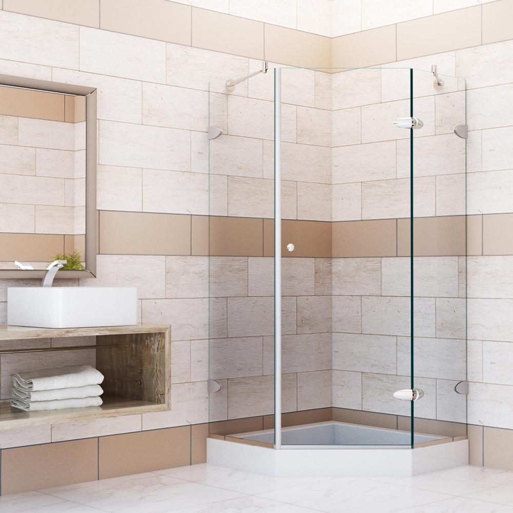 VIGO 42 in. x 78 in. Frameless Neo-Angle Shower Enclosure in Chrome with Clear Glass
