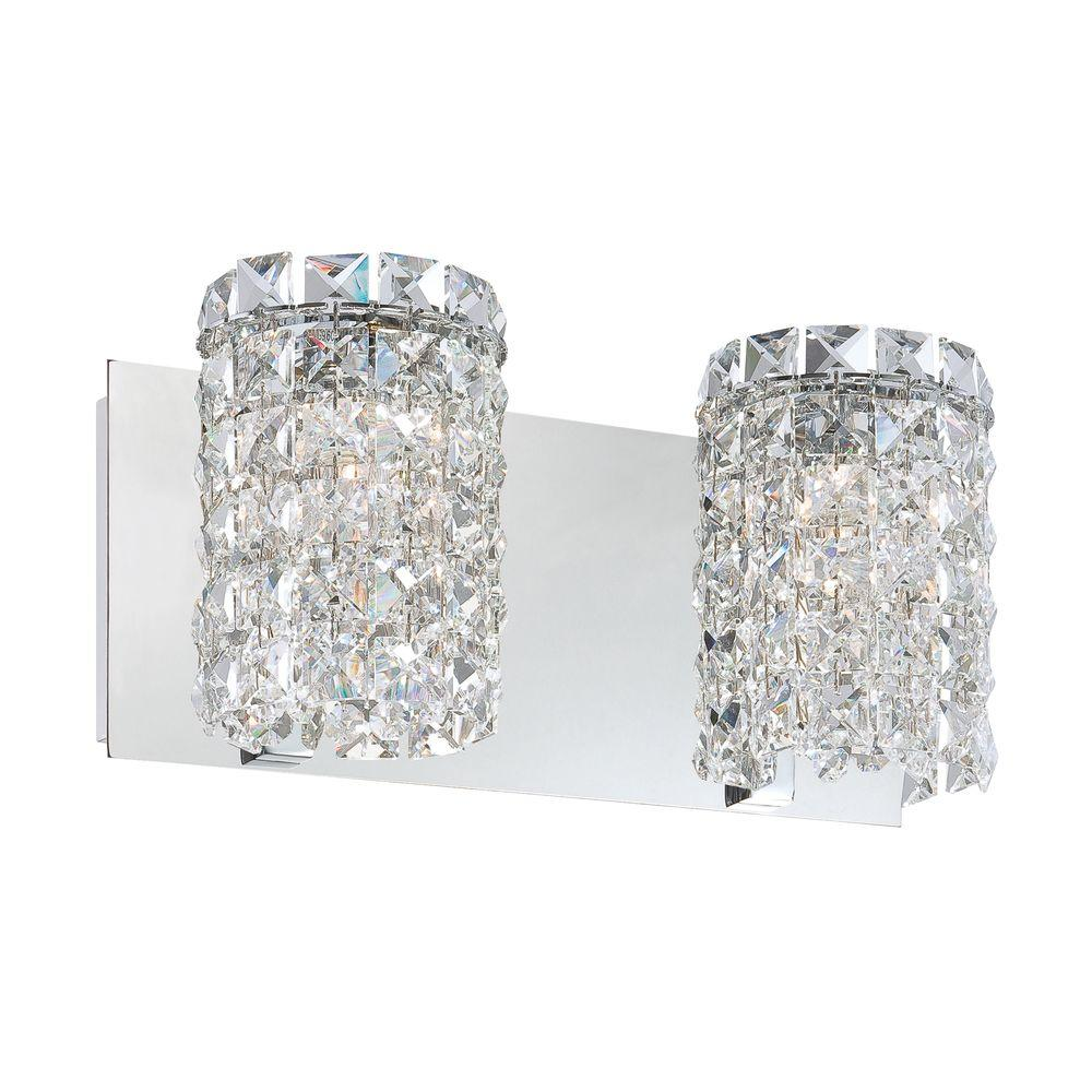 Vanity Light Clear Glass : Queen 2-Light Chrome Vanity Light with Clear Crystal Glass-TN-92315 - The Home Depot