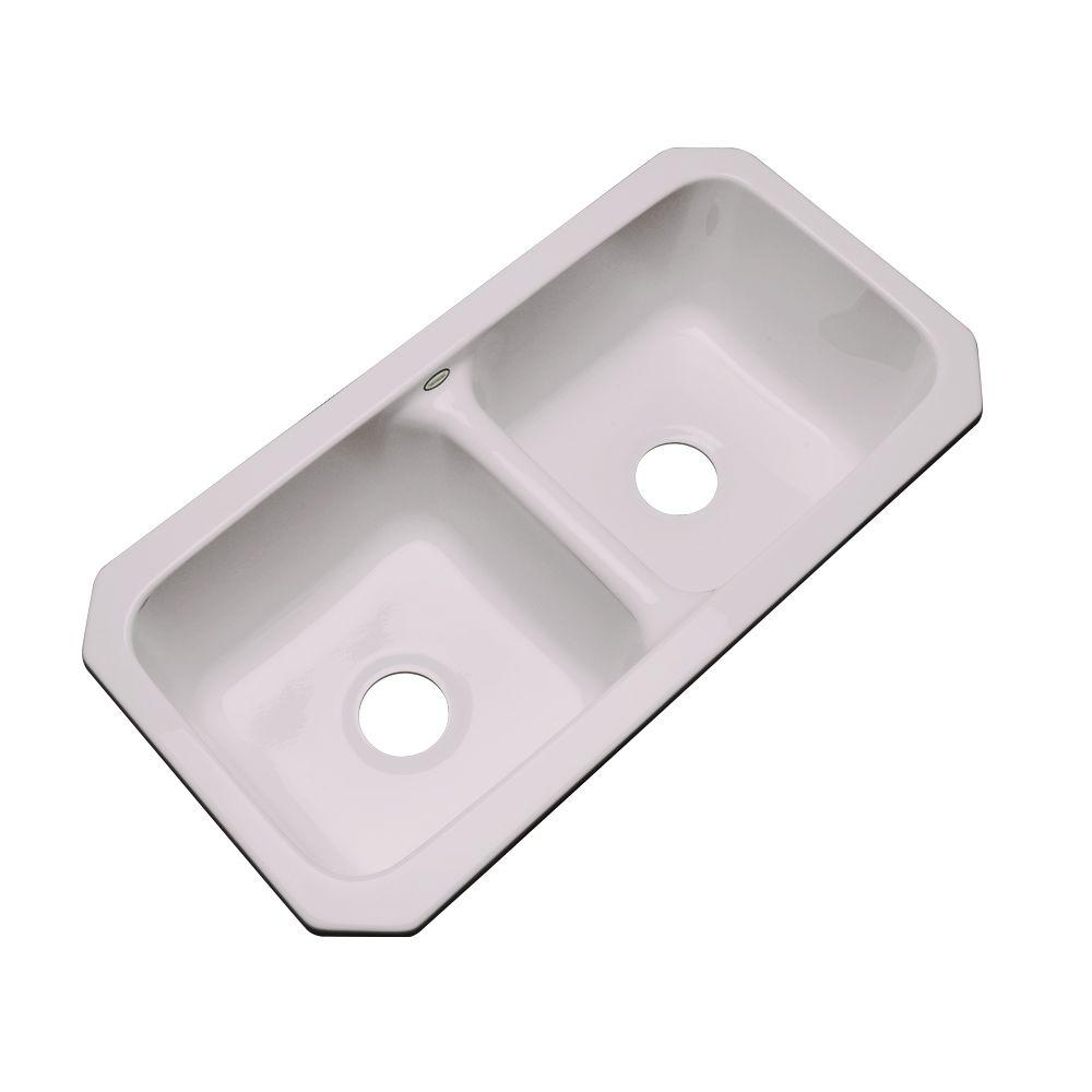 Brighton Undermount Acrylic 33x16.5x9 0-Hole Double Bowl Kitchen Sink in Innocent Blush
