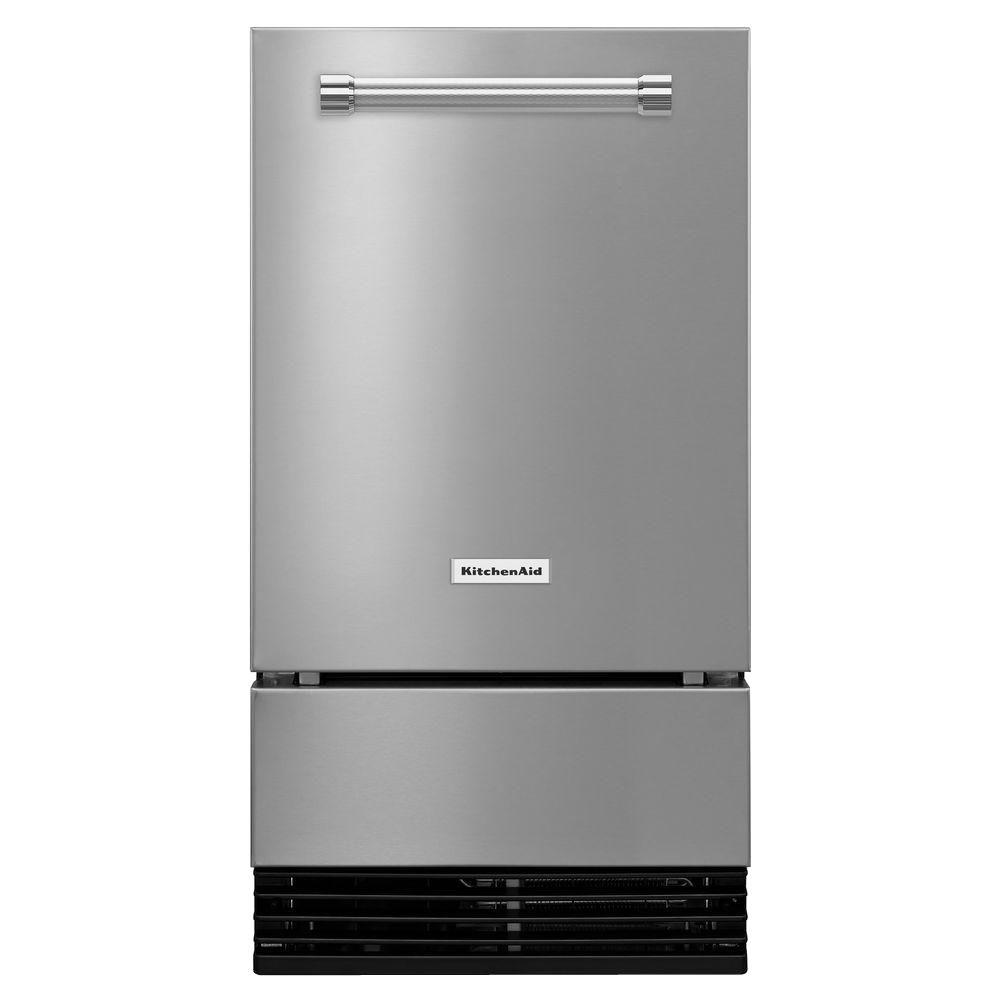 KitchenAid 18 in. 51 lbs. Built-In or Freestanding Ice Maker in Stainless Steel (Silver)